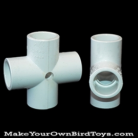 Drilled PVC Cross Bird Toy Base